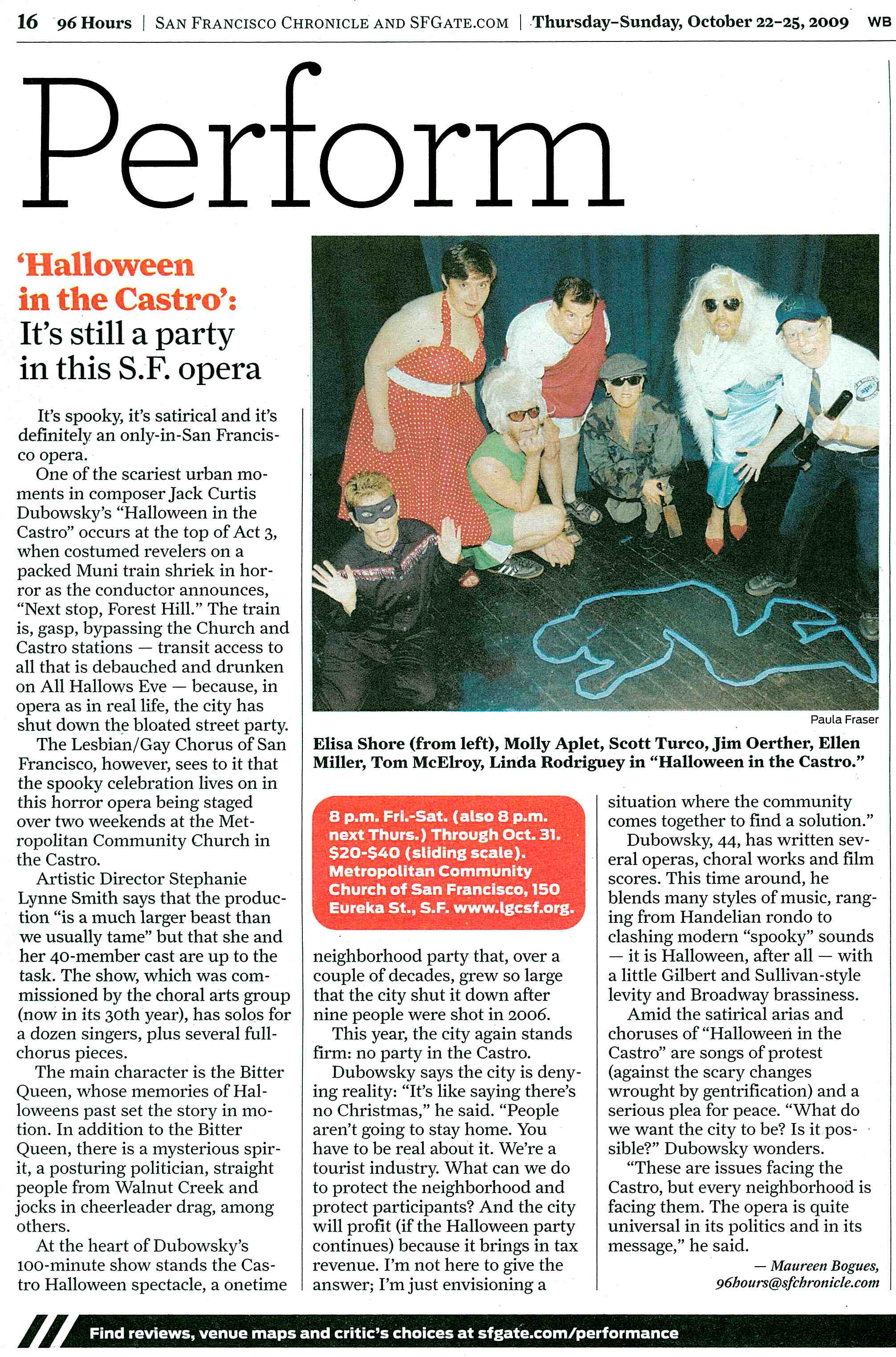 San Francisco Chronicle Datebook previews Halloween in the Castro